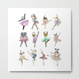 Animal Square Dance Hipster Ballerinas Metal Print