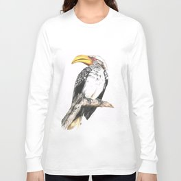 Southern Yellow-Billed Hornbill - Colored Pencil Long Sleeve T-shirt