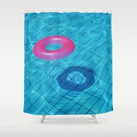 pool Shower Curtains featuring Pool by Lama BOO