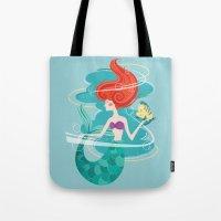 little mermaid Tote Bags featuring Little Mermaid by LindseyCowley