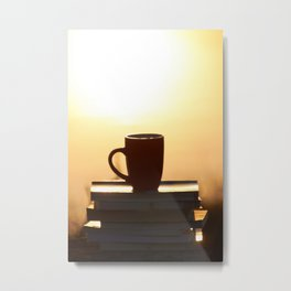 Coffee cup on books Metal Print