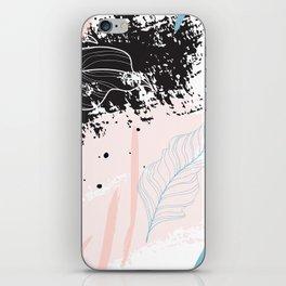 Exotic leaves on grunge background iPhone Skin