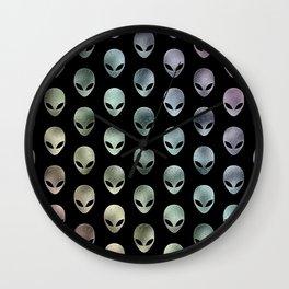 Grey Alien Rainbow Wall Clock