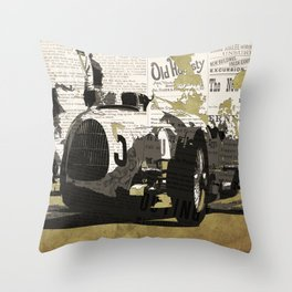 Race car number five, newspaper art collage, Gift For Dad, Gift For Him Throw Pillow