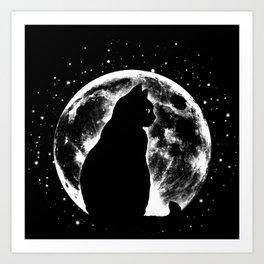 Cat Moon Silhouette Art Print