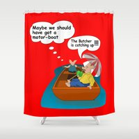 butcher billy Shower Curtains featuring Escaping the Butcher by Petellgra
