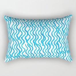 Nautical Miami Blue Indigo Ocean Wavey Rectangular Pillow