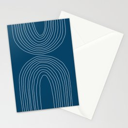 Hand drawn Geometric Lines in Midnight Blue 2 (Rainbow Abstraction) Stationery Cards