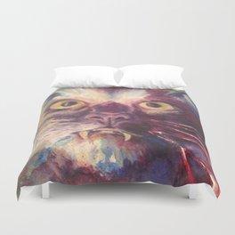 Vampire Cat, Watercolor Painting, Fang Kitty Duvet Cover