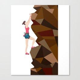 Vintage Cool Girl Rock Climbing Canvas Print