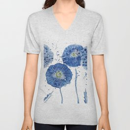 four blue dandelions watercolor Unisex V-Neck