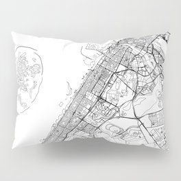 Dubai White Map Pillow Sham