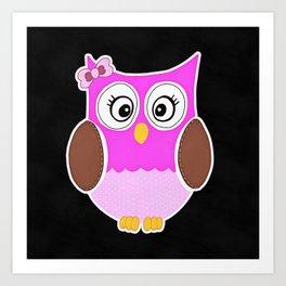 Pink Owl Art Print