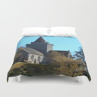scotland Duvet Covers featuring Crathie Church, Balmoral, Scotland by Phil Smyth