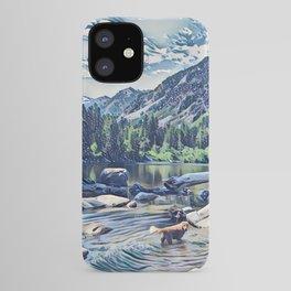 Golden Retriever. Mountain Lake Trail iPhone Case