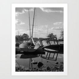Lagoon and Boats Art Print