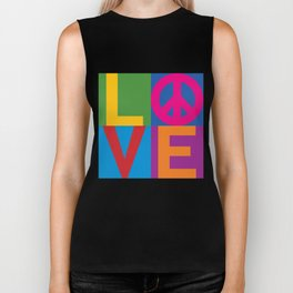 Love Peace Color Blocked Biker Tank