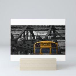 A yellow school bus spotted in Boston, Massachusetts Mini Art Print