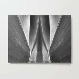 Architectural abstract captured in black and white from low perspective rendering a dramatic view. Metal Print