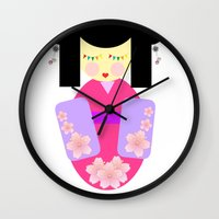 sakura Wall Clocks featuring Sakura by Sreetama Ray