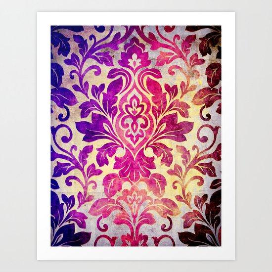 Purple Damask Pattern Art Print