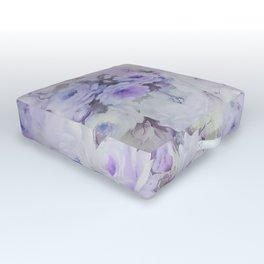 Vintage lavender gray botanical roses floral Outdoor Floor Cushion