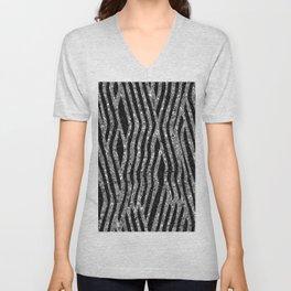 Glittery Zebra Faux Animal Fur Unisex V-Neck