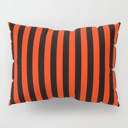 Bright Red and Black Vertical Stripes Pillow Sham