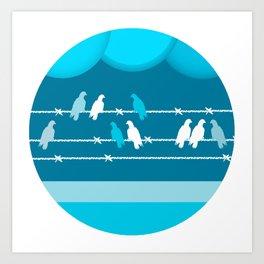 Breaking Bird (On a Wire) 2 Art Print