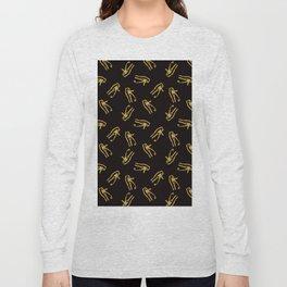 Eye of Horus - Gold Glitter on Black Onyx Long Sleeve T-shirt