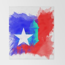 San Juan P.R Watercolor Throw Blanket