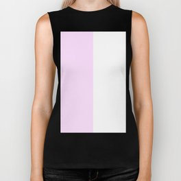 White and Pastel Violet Vertical Halves Biker Tank
