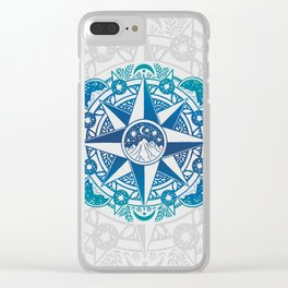 Journey to Moon Mountain | Turquoise Navy Ombré Clear iPhone Case