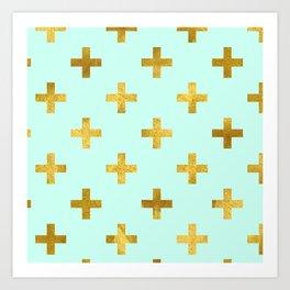 Mint Gold Foil 12 Art Print