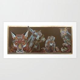 Critters Love Coffee Art Print