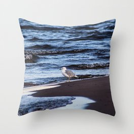 Seagulll by the Waves Throw Pillow