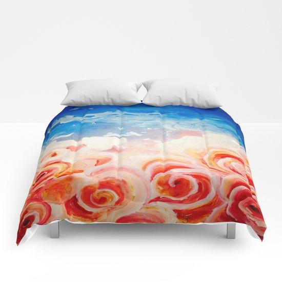 Peachy Roses Comforters