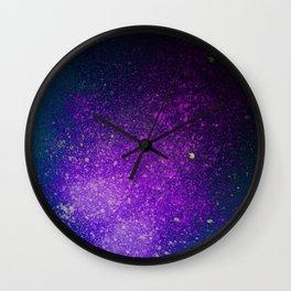 "Purple Stars Paint splatter on Deep Blue ""Dream On"" Wall Clock"