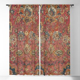 Persian Medallion Rug IV // 16th Century Distressed Red Green Blue Flowery Colorful Ornate Pattern Blackout Curtain