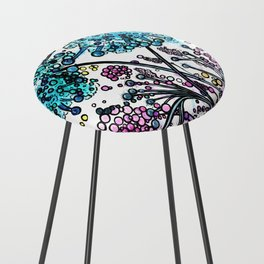Purple floral watercolor abstraction Counter Stool