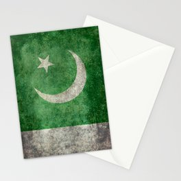 Flag of Pakistan, grungy retro style Stationery Cards