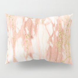 Rose Gold Marble - Rose Gold Yellow Gold Shimmery Metallic Marble Pillow Sham