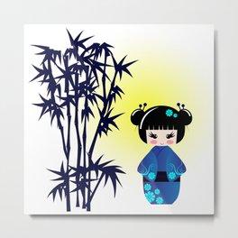 Japanese kokeshi doll at bamboo at sunrise Metal Print