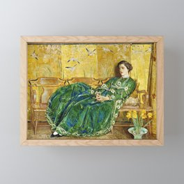 Frederick Childe Hassam - April, The Green Gown - Digital Remastered Edition Framed Mini Art Print