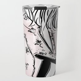 Casual young girl wearing hat and floral dress, clutch bag and a cup of coffee ready to hustle Travel Mug