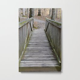 Walking over the bridge and through the woods Metal Print