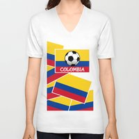 football V-neck T-shirts featuring Colombia Football by mailboxdisco