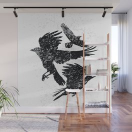Crows in black and white Wall Mural