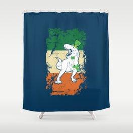 Distressed Irish Flag St Patrick Dinosaur Blue Shower Curtain