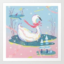 Christmas Swans Art Print